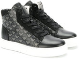 Armani Junior logos print hi-tops - kids - Cotton/Leather/Suede/rubber - 28