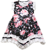 Honeydew Black Floral Ruffle-Hem Handkerchief Dress - Girls