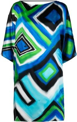 Gianluca Capannolo Geometric Print Silk Shift Dress