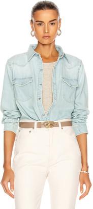 GRLFRND Lauren Denim Shirt in All Right Now | FWRD
