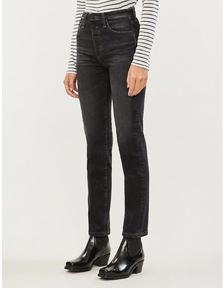 AG Jeans Isabelle high-rise slim-fit straight jeans
