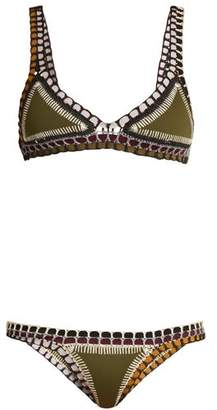 Kiini Wren Crochet Trimmed Triangle Bikini - Womens - Khaki