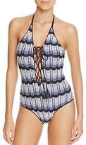 Suboo Denim Knit Halter One-Piece Swimsuit