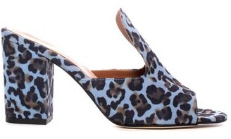 Paris Texas Denim Leopard Mule