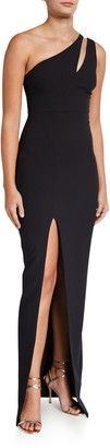 LIKELY Roxy One-Shoulder Body-Con Gown w/ Front Slit