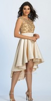 Dave and Johnny Cap Sleeve Lace Embellished High Low Cocktail Dress
