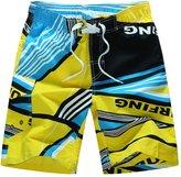 YOUJIA Men's Board Shorts Casual Striped Beach Shorts Swim Trunk (Yellow, 3XL)