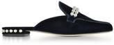 Stuart Weitzman Guamule Navy Blue Velvet Flat Mules w/Pearls