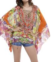 Myosotis510 Women's Chiffon Bandage V-neck Batwing Blouse Poncho Tunic Top