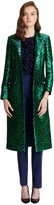 Oscar de la Renta Leopard Satin Jacquard Notch-Collar Coat with Jewel Buttons