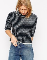 Asos Sweater In Textured Stripe With Funnel Neck