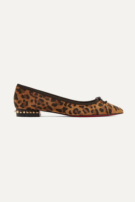 Christian Louboutin Hall Spiked Leopard-print Suede Point-toe Flats - Leopard print
