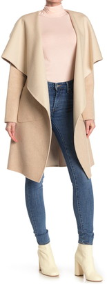 BCBGMAXAZRIA Wing Collar Wool Blend Duster Coat