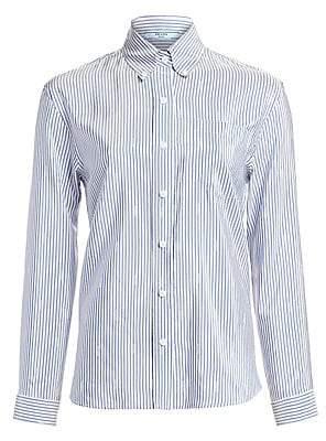Prada Women's Silk Pongee Stripe Blouse
