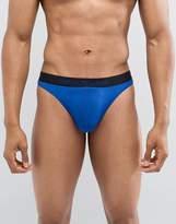 Emporio Armani Logo Microfibre Thong In Blue