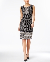 JM Collection Petite Printed Split-Neck Sheath Dress, Created for Macy's