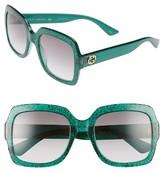 Gucci Women's 54Mm Square Sunglasses - Glitter Emerald/ Grey