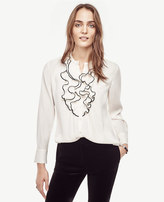 Ann Taylor Piped Ruffle Blouse