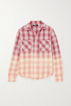 Amiri Ombre Metallic Plaid Cotton-flannel Shirt - Red