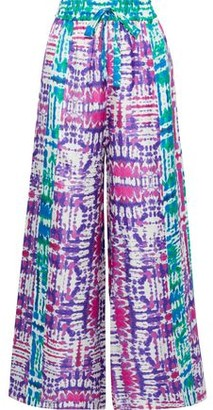 Prabal Gurung Tie-dyed Silk-faille Wide-leg Pants
