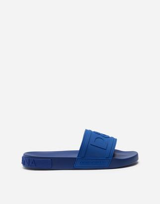 Dolce & Gabbana Rubber Beachwear Sliders With Logo