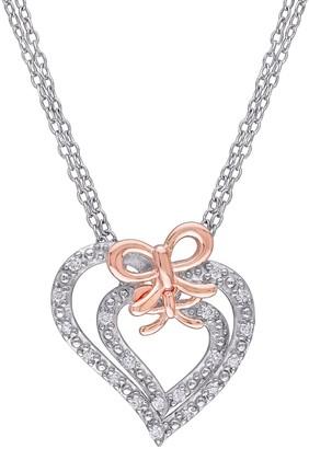 Stella Grace Two Tone Sterling Silver 1/5 Carat T.W. Diamond Heart Bow Pendant Necklace