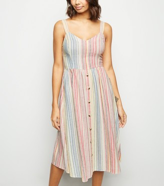New Look Stripe Linen Blend Button Midi Dress