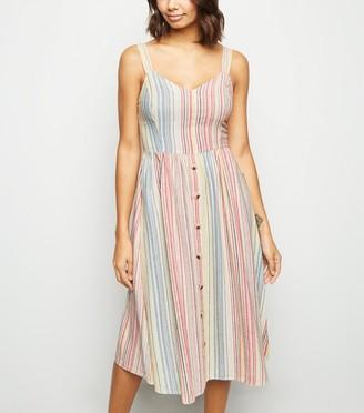 New Look Stripe Linen Blend Button Midi Dress