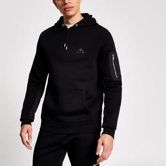 River Island MCMLX black nylon panel slim fit hoodie