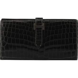 Hermes Bearn Black Exotic leathers Wallets
