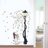 Mr.S Shop Large Wall Stickers Tree Girl and Street Lights Home Decor Living Room Bedroom DIY Mural Decal Removable Wall Decals