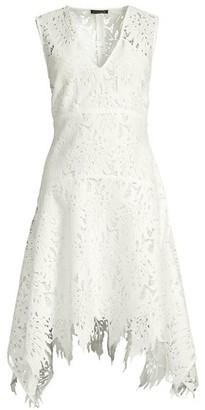 Josie Natori Palm Lace Sleeveless A-Line Dress