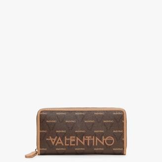 Valentino By Mario Valentino Liuto Repeat Logo Cuoio Zip Around Wallet