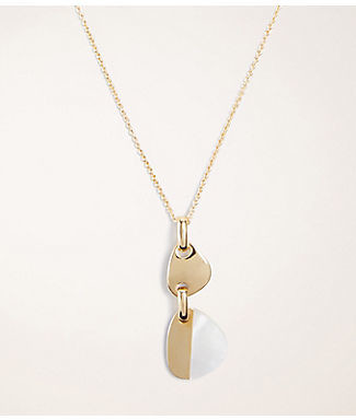 Ann Taylor Mother Of Pearl Drop Pendant Necklace
