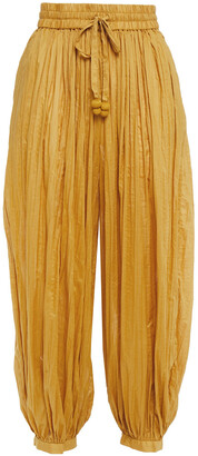 Zimmermann Gathered Cotton Tapered Pants