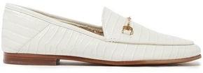 Sam Edelman Embellished Croc-effect Leather Loafers