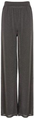 M Missoni Charcoal wide-leg metallic-weave trousers