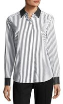 Go Silk Leather-Trim Striped Poplin Shirt