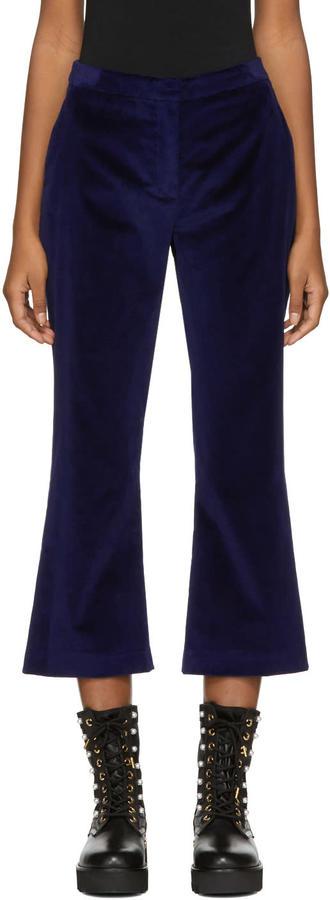 Altuzarra Navy Velvet Nettle Trousers