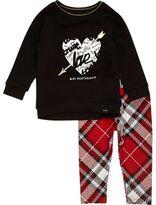 River Island Mini girls black top plaid leggings set