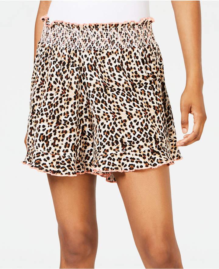 Miken Juniors' Animal-Print Smocked Cover-up Shorts, Women Swimsuit