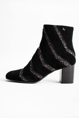 Zadig & Voltaire Lena Suede Glitter Boots