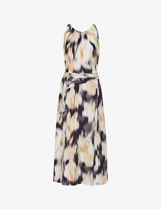 Reiss Giselle graphic-print crepe midi dress