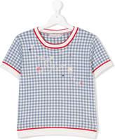Christian Dior TEEN logo embroidered checkered top