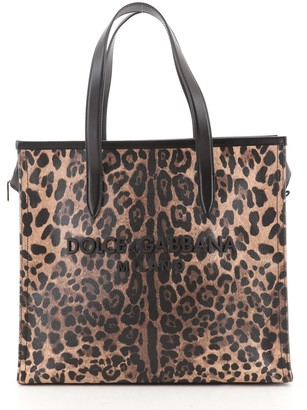 Dolce & Gabbana Market Shopping Tote Printed Coated Canvas and Leather Large
