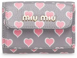 Miu Miu heart-print Madras wallet