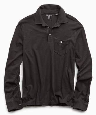 Todd Snyder Made In L.A. Slub Jersey Long Sleeve Polo in Black