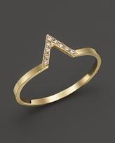 Chicco Zoe 14K Yellow Gold Pave Diamond Small V Ring