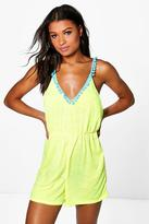Boohoo Harriet Pom Pom Beach Playsuit