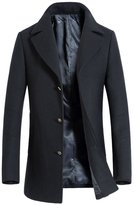 Oncefirst Men's Turn Down Collar Single Breasted Solid Color Wool Coat M